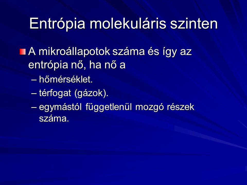 Entrópia molekuláris szinten A mikroállapotok száma és így az entrópia nő, ha nő a –hőmérséklet.
