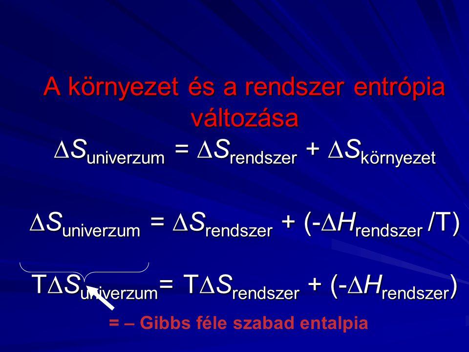 A környezet és a rendszer entrópia változása  S univerzum =  S rendszer +  S környezet  S univerzum =  S rendszer + (-  H rendszer /T) T  S univerzum = T  S rendszer + (-  H rendszer ) = – Gibbs féle szabad entalpia