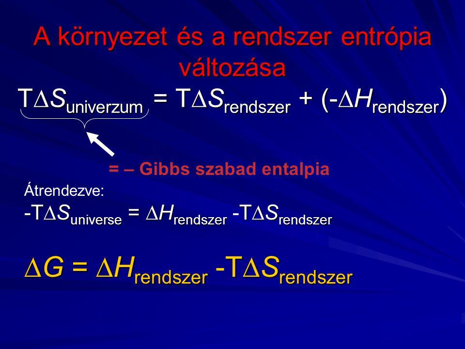 A környezet és a rendszer entrópia változása T  S univerzum = T  S rendszer + (-  H rendszer ) = – Gibbs szabad entalpia Átrendezve: -T  S universe =  H rendszer T  S rendszer -T  S universe =  H rendszer -T  S rendszer  G =  H rendszer T  S rendszer  G =  H rendszer -T  S rendszer