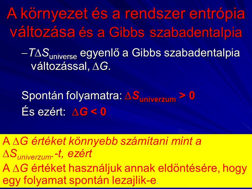  T  S universe egyenlő a Gibbs szabadentalpia változással,  G.