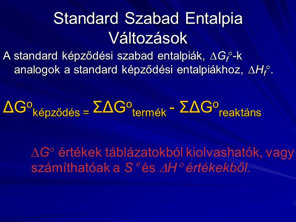 Standard Szabad Entalpia Változások A standard képződési szabad entalpiák,  G f  -k analogok a standard képződési entalpiákhoz,  H f .