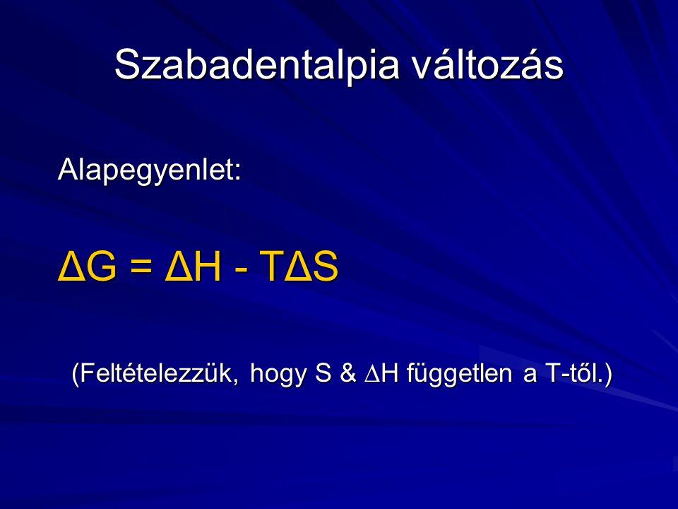 Szabadentalpia változás Alapegyenlet: ΔG = ΔH - TΔS (Feltételezzük, hogy S &  H független a T-től.)