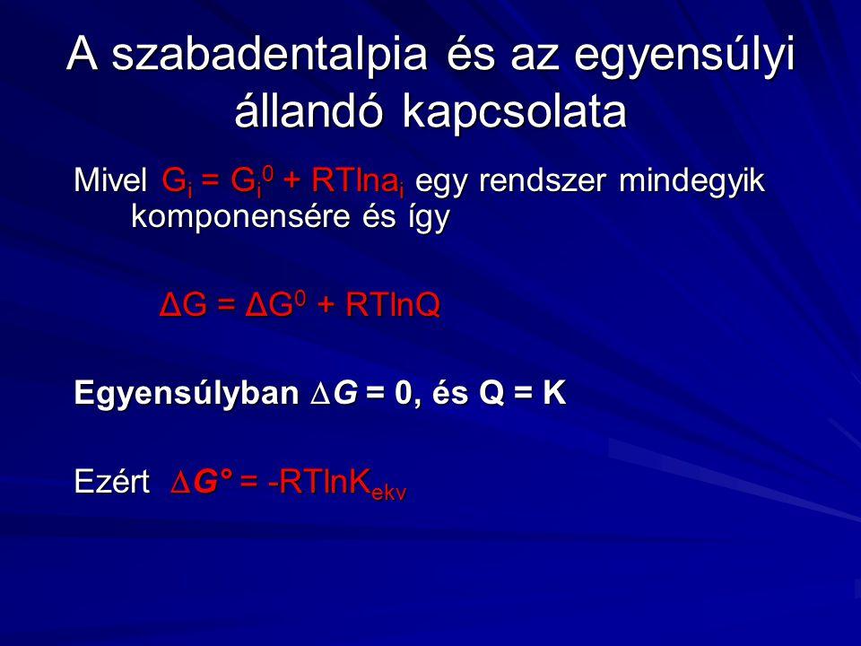 A szabadentalpia és az egyensúlyi állandó kapcsolata Mivel G i = G i 0 + RTlna i egy rendszer mindegyik komponensére és így ΔG = ΔG 0 + RTlnQ Egyensúlyban  G = 0, és Q = K Ezért  G° = -RTlnK ekv