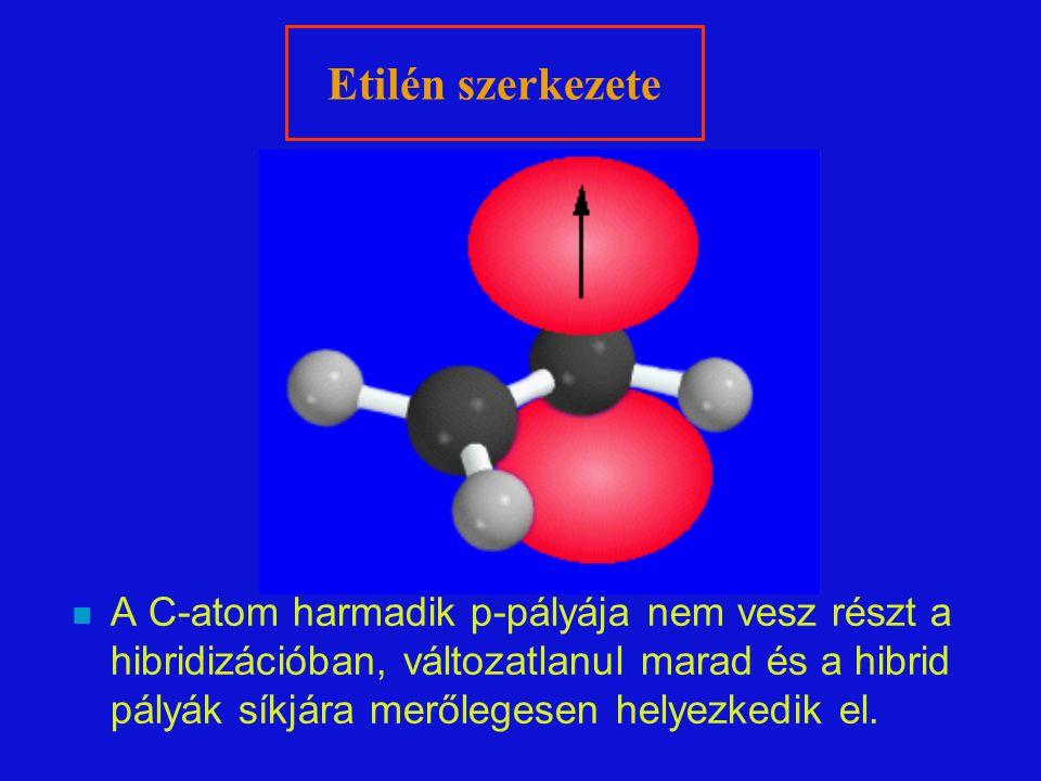 n A C-atom harmadik p-pályája nem vesz részt a hibridizációban, változatlanul marad és a hibrid pályák síkjára merőlegesen helyezkedik el. Etilén szer