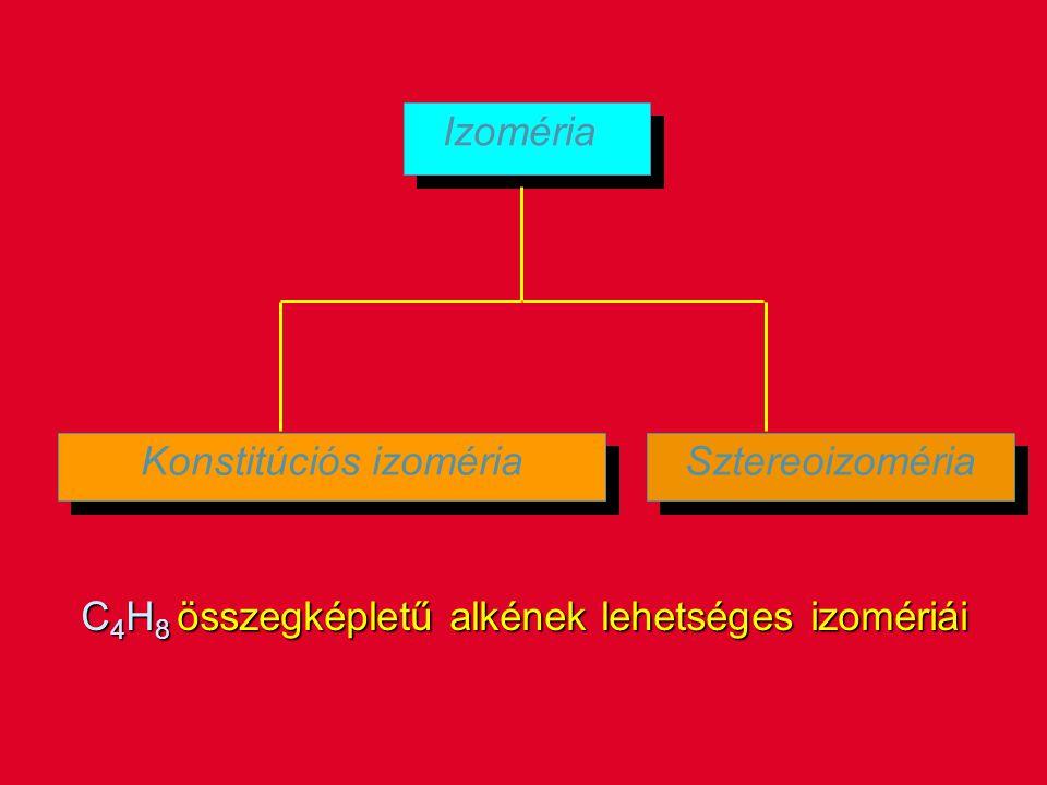 Izoméria Konstitúciós izoméria Sztereoizoméria C 4 H 8 összegképletű alkének lehetséges izomériái
