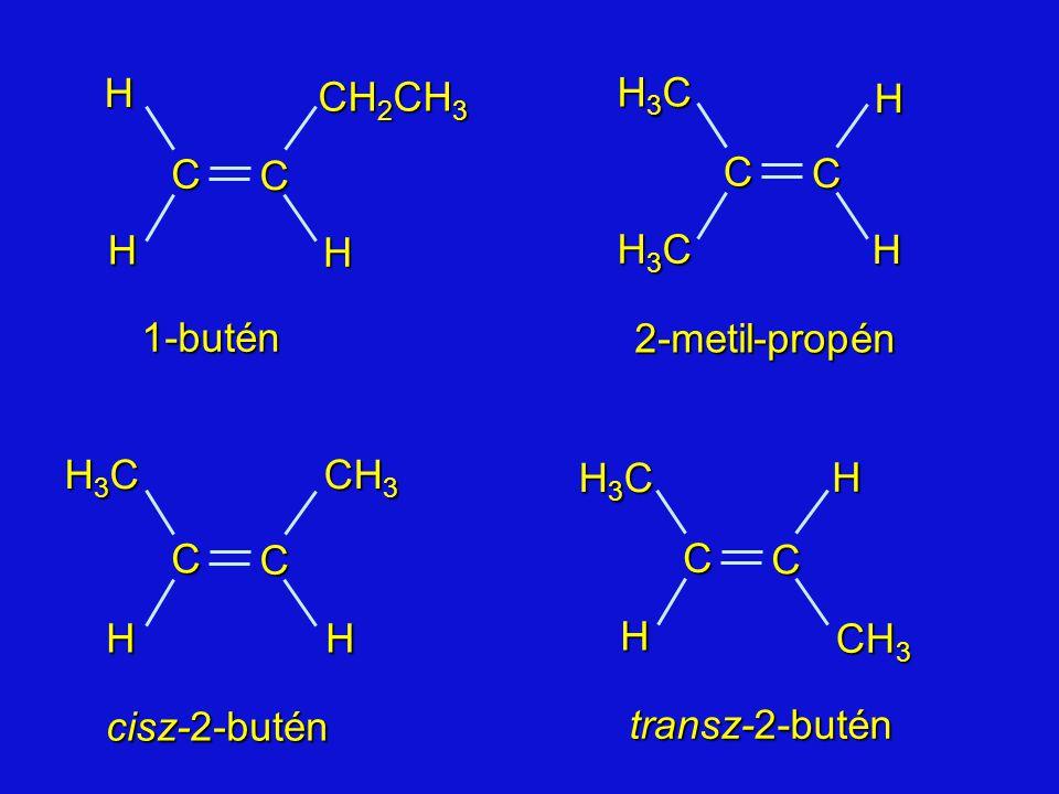2-metil-propén 1-butén cisz-2-butén transz-2-butén C CHH H CH 2 CH 3 H3CH3CH3CH3C C C CH 3 HH H C C H3CH3CH3CH3CH C C H H H3CH3CH3CH3C H3CH3CH3CH3C