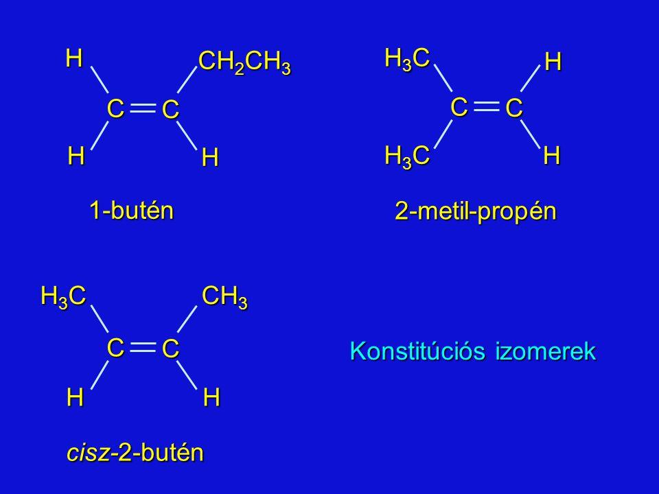 2-metil-propén 1-butén cisz-2-butén C CHH H CH 2 CH 3 H CH 3 C C H3CH3CH3CH3CH C C H H H3CH3CH3CH3C H3CH3CH3CH3C Konstitúciós izomerek