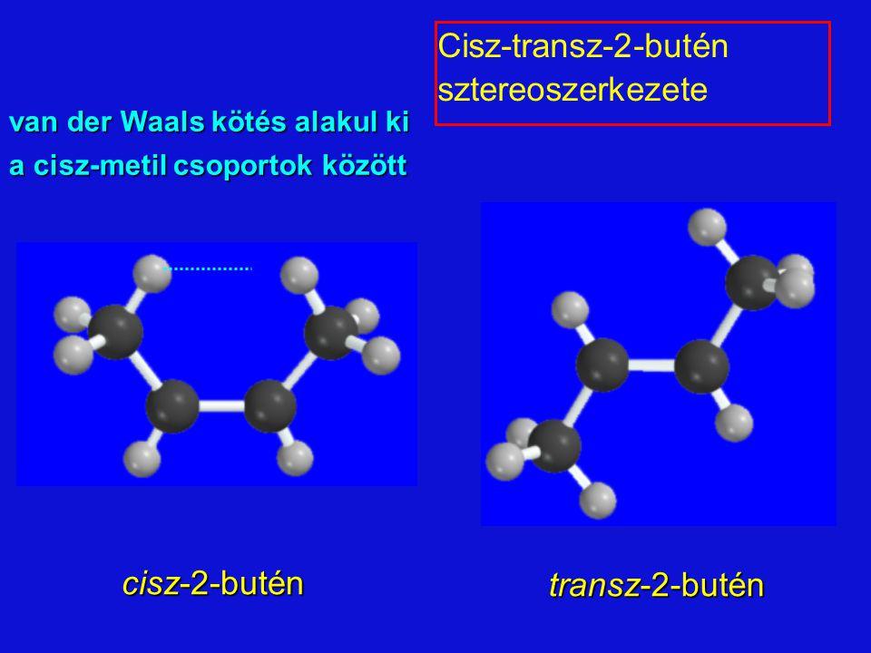 cisz-2-butén transz-2-butén van der Waals kötés alakul ki a cisz-metil csoportok között Cisz-transz-2-butén sztereoszerkezete