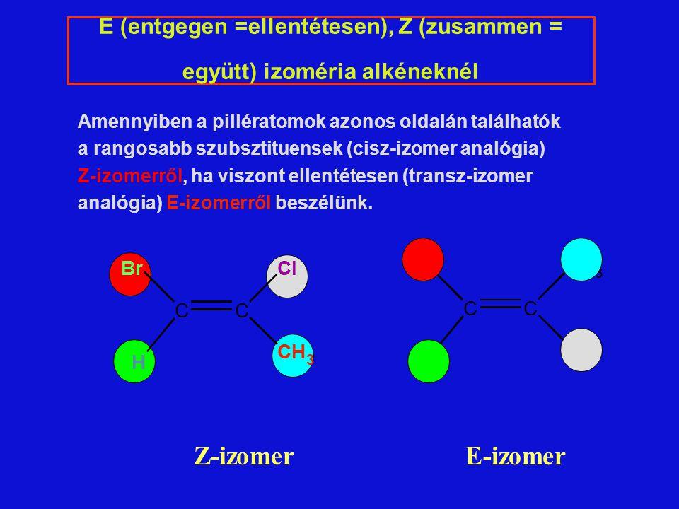 Amennyiben a pillératomok azonos oldalán találhatók a rangosabb szubsztituensek (cisz-izomer analógia) Z-izomerről, ha viszont ellentétesen (transz-izomer analógia) E-izomerről beszélünk.