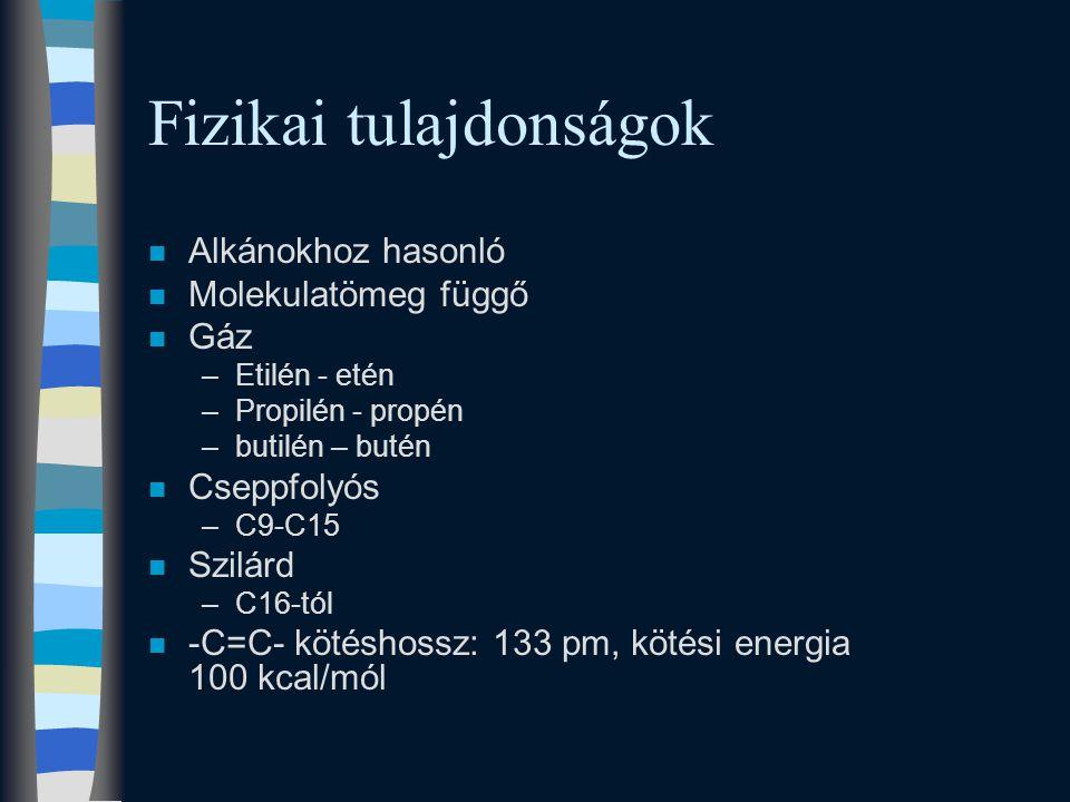 Fizikai tulajdonságok n Alkánokhoz hasonló n Molekulatömeg függő n Gáz –Etilén - etén –Propilén - propén –butilén – butén n Cseppfolyós –C9-C15 n Szilárd –C16-tól n -C=C- kötéshossz: 133 pm, kötési energia 100 kcal/mól