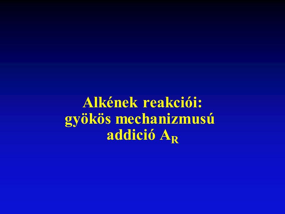 Alkének reakciói: gyökös mechanizmusú addició A R