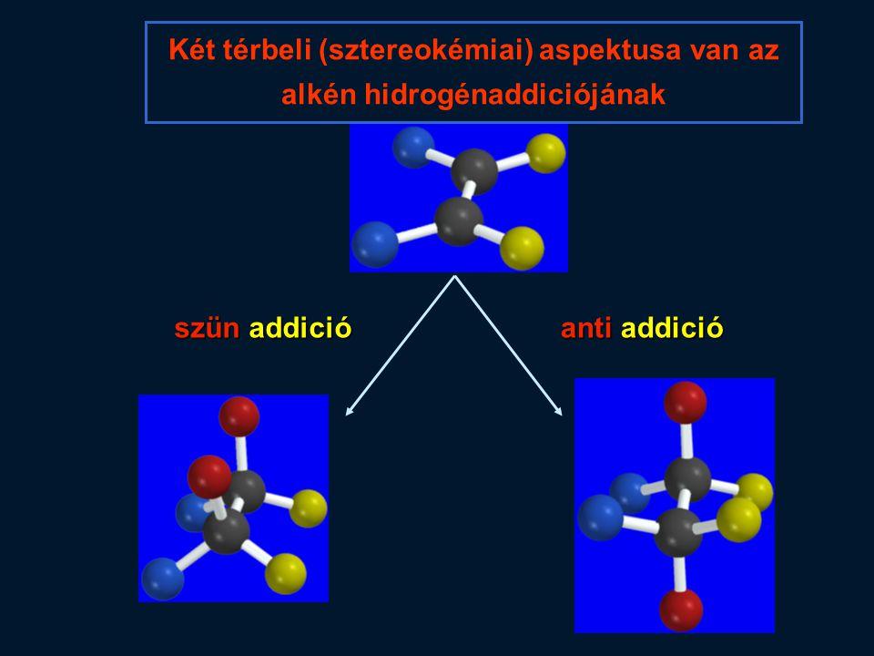 szün addició anti addició Két térbeli (sztereokémiai) aspektusa van az alkén hidrogénaddiciójának