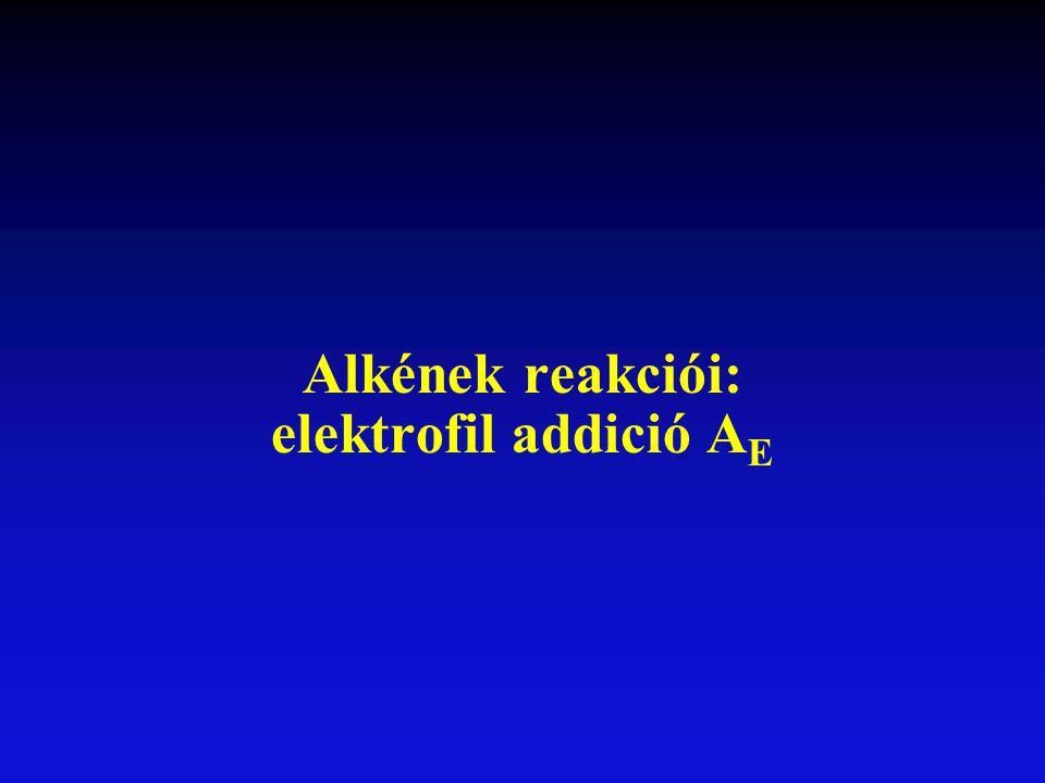 Alkének reakciói: elektrofil addició A E