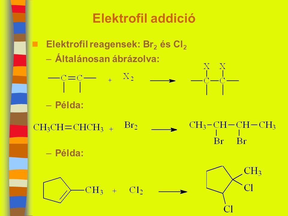Elektrofil addició n Elektrofil reagensek: Br 2 és Cl 2 –Általánosan ábrázolva: –Példa:
