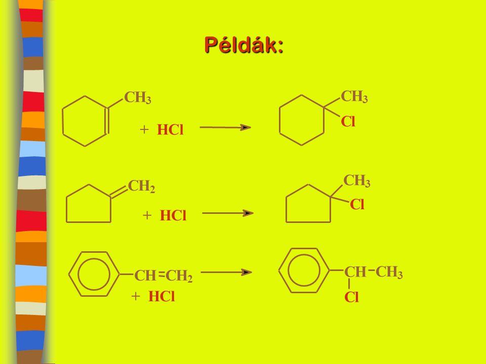 Példák: CH 3 + HCl CH 3 Cl CH 2 CH 3 Cl CHCH 2 CH CH 3 Cl