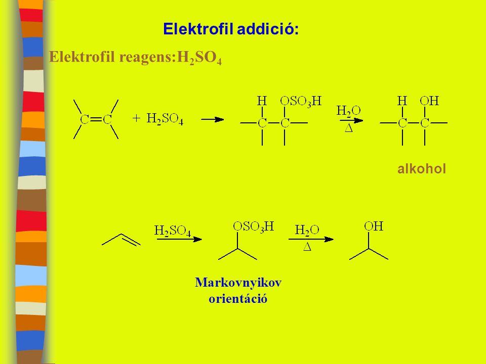 Elektrofil addició: Elektrofil reagens:H 2 SO 4 alkohol Markovnyikov orientáció