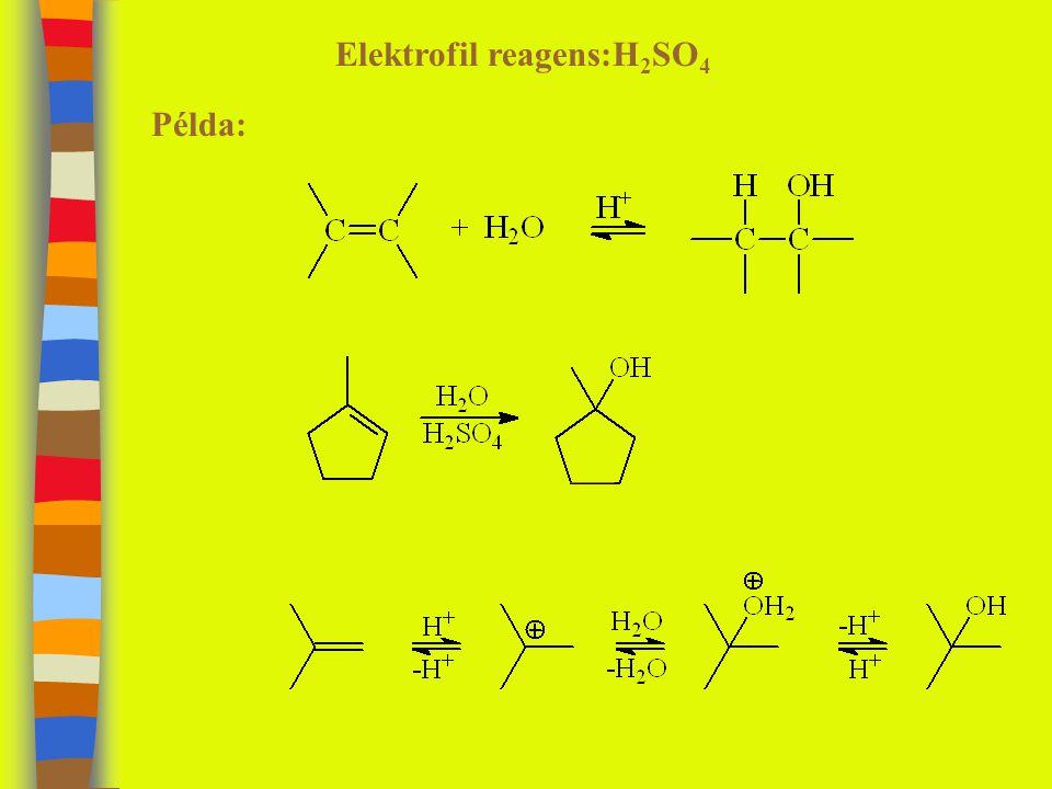 Elektrofil reagens:H 2 SO 4 Példa: