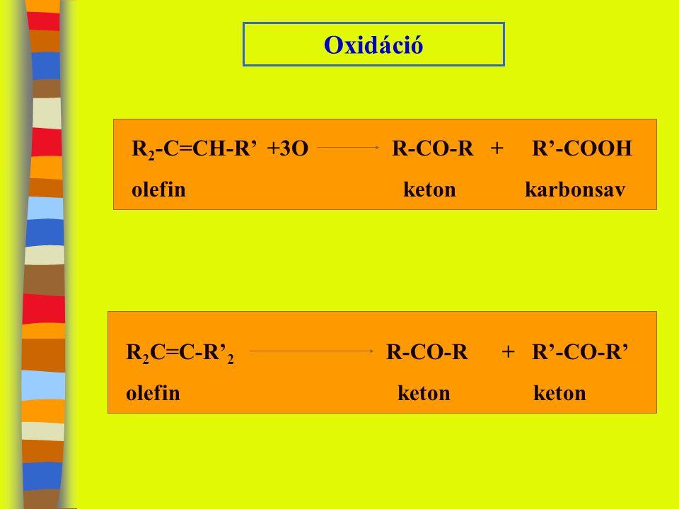 Oxidáció R 2 -C=CH-R' +3O R-CO-R + R'-COOH olefinketon karbonsav R 2 C=C-R' 2 R-CO-R + R'-CO-R' olefinketonketon