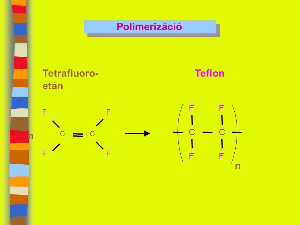 Polimerizáció CC F F F F Tetrafluoro- etán n C F F C F F n Teflon