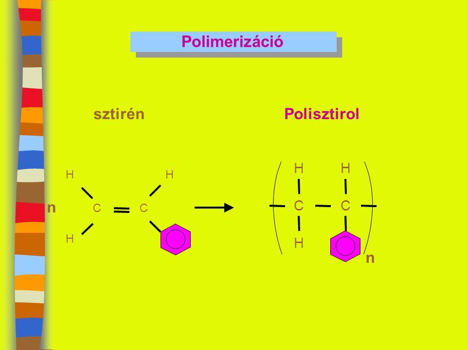 Polimerizáció CC HH H sztirén n C H H C H n Polisztirol