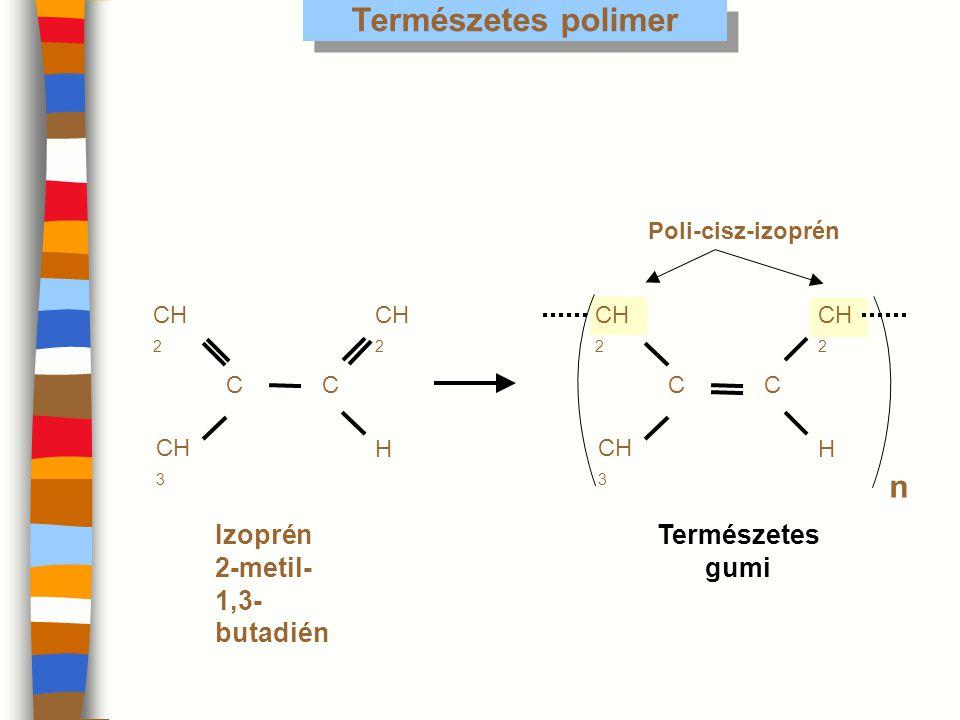 Poli-cisz-izoprén Természetes polimer CC CH 2 CH 3 Izoprén 2-metil- 1,3- butadién n n Természetes gumi H CC CH 2 CH 3 H