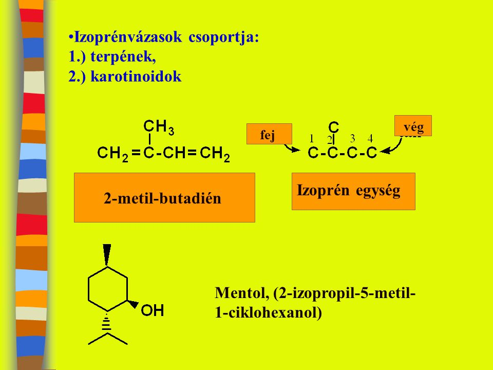 Izoprénvázasok csoportja: 1.) terpének, 2.) karotinoidok fej vég 2-metil-butadién Izoprén egység Mentol, (2-izopropil-5-metil- 1-ciklohexanol)