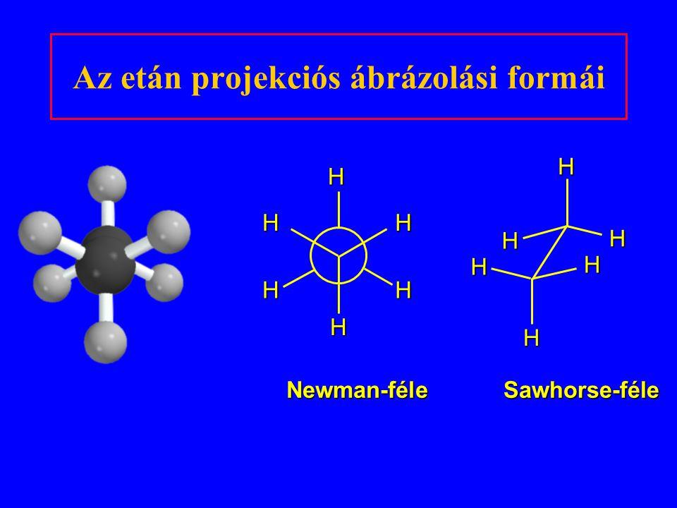 Az etán projekciós ábrázolási formái Newman-féle Sawhorse-féle HH HH HH HH H H H H