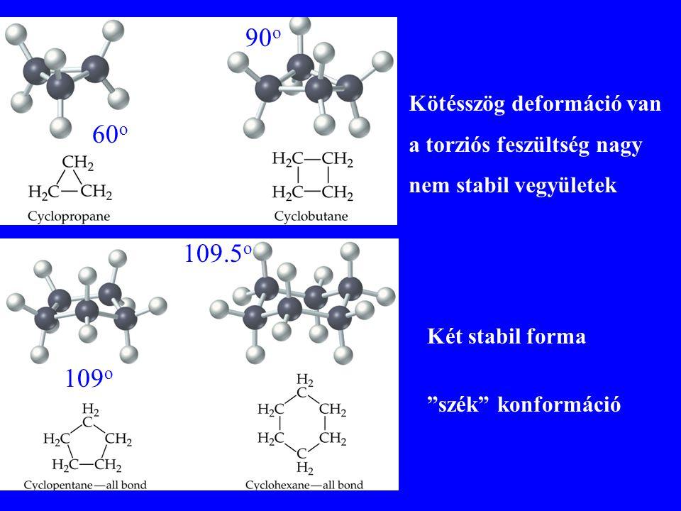 """Kötésszög deformáció van a torziós feszültség nagy nem stabil vegyületek Két stabil forma 60 o 90 o 109 o 109.5 o """"szék"""" konformáció"""
