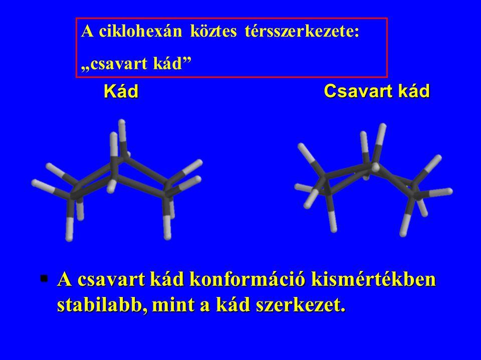 """§A csavart kád konformáció kismértékben stabilabb, mint a kád szerkezet. Kád Csavart kád A ciklohexán köztes térsszerkezete: """"csavart kád"""""""