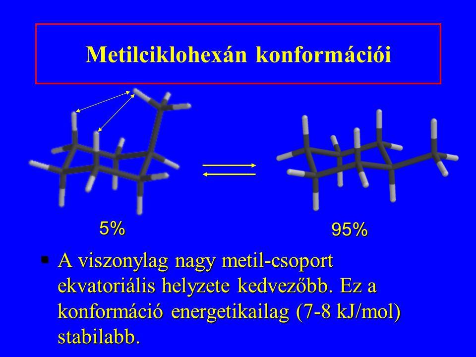 5% 95% §A viszonylag nagy metil-csoport ekvatoriális helyzete kedvezőbb. Ez a konformáció energetikailag (7-8 kJ/mol) stabilabb. Metilciklohexán konfo