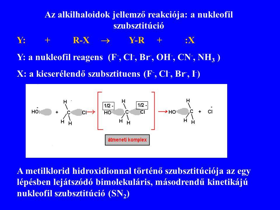 Az alkilhaloidok jellemző reakciója: a nukleofil szubsztitúció Y:+R-X  Y-R+:X Y: a nukleofil reagens (F -, Cl -, Br -, OH -, CN -, NH 3 ) X: a kicser
