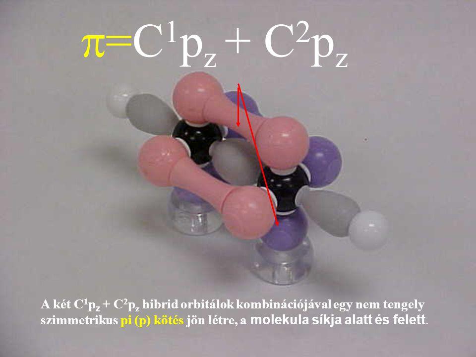  =C 1 p z + C 2 p z A két C 1 p z + C 2 p z hibrid orbitálok kombinációjával egy nem tengely szimmetrikus pi (p) kötés jön létre, a molekula síkja al