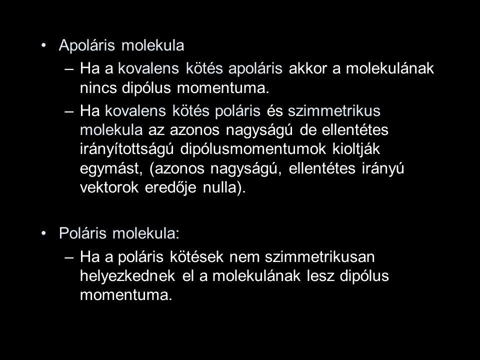 Apoláris molekula –Ha a kovalens kötés apoláris akkor a molekulának nincs dipólus momentuma. –Ha kovalens kötés poláris és szimmetrikus molekula az az