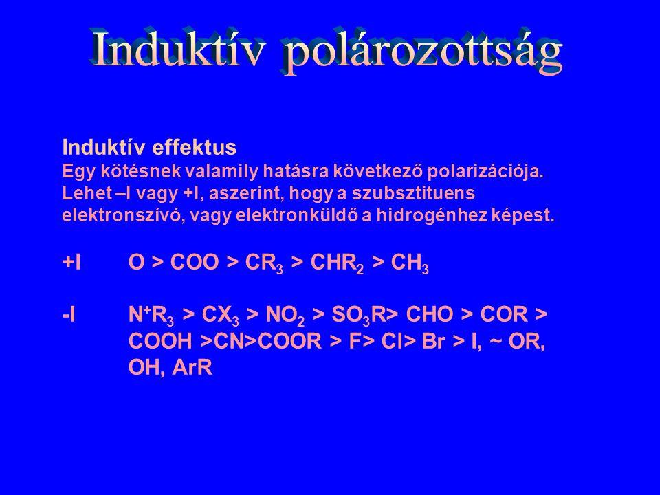 Induktív effektus Egy kötésnek valamily hatásra következő polarizációja. Lehet –I vagy +I, aszerint, hogy a szubsztituens elektronszívó, vagy elektron