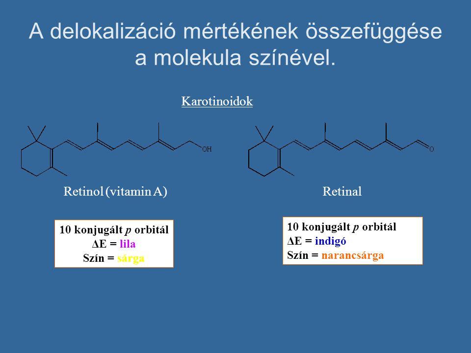 A delokalizáció mértékének összefüggése a molekula színével. Karotinoidok 10 konjugált p orbitál ΔE = lila Szín = sárga RetinalRetinol (vitamin A) 10