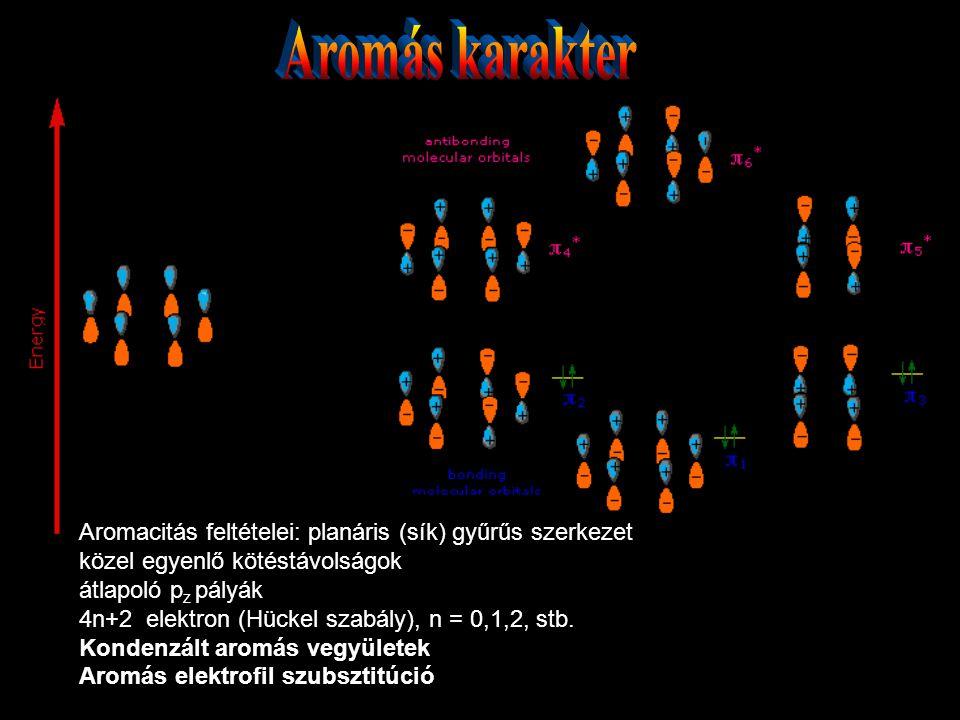 Aromacitás feltételei: planáris (sík) gyűrűs szerkezet közel egyenlő kötéstávolságok átlapoló p z pályák 4n+2 elektron (Hückel szabály), n = 0,1,2, st