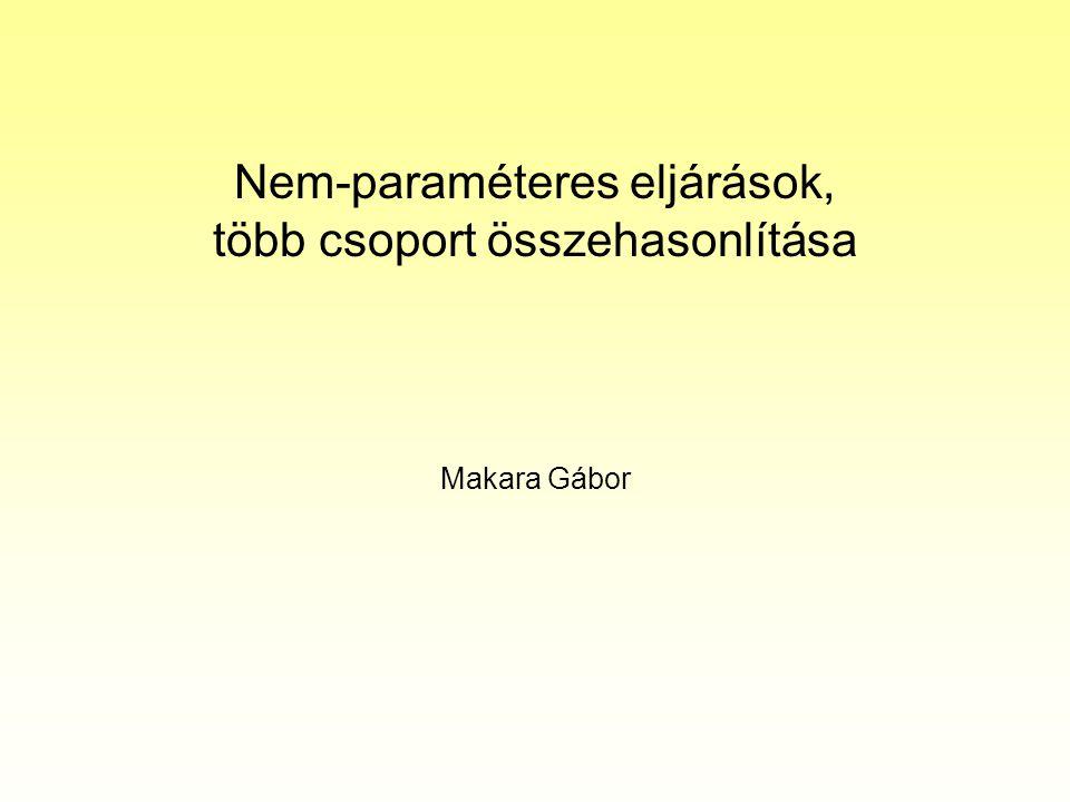 Nem-paraméteres eljárások, több csoport összehasonlítása Makara Gábor
