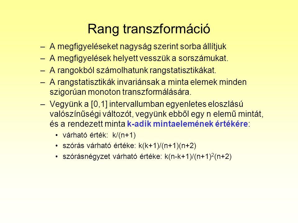 Rang transzformáció –A megfigyeléseket nagyság szerint sorba állítjuk –A megfigyelések helyett vesszük a sorszámukat. –A rangokból számolhatunk rangst