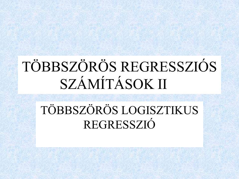 TÖBBSZÖRÖS REGRESSZIÓS SZÁMÍTÁSOK II TÖBBSZÖRÖS LOGISZTIKUS REGRESSZIÓ