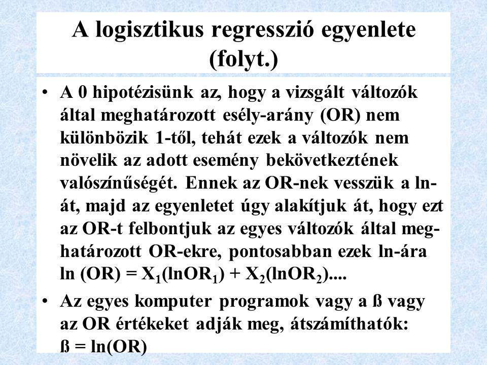 A logisztikus regresszió egyenlete (folyt.) A 0 hipotézisünk az, hogy a vizsgált változók által meghatározott esély-arány (OR) nem különbözik 1-től, tehát ezek a változók nem növelik az adott esemény bekövetkeztének valószínűségét.