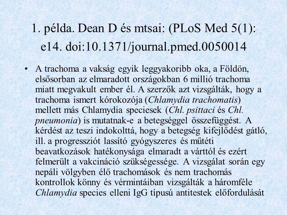1.példa. Dean D és mtsai: (PLoS Med 5(1): e14.