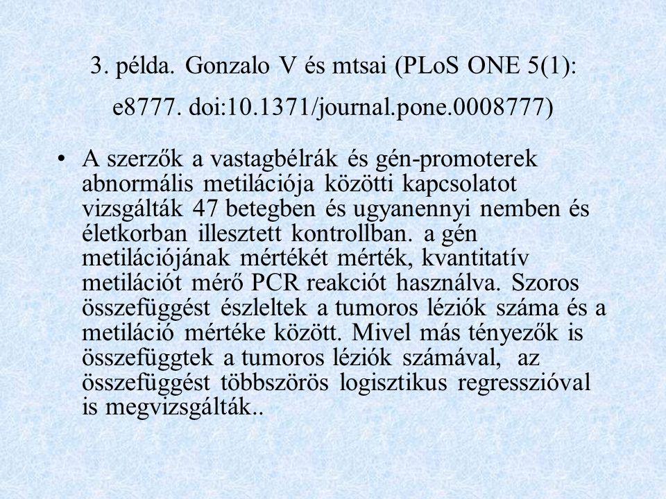 3.példa. Gonzalo V és mtsai (PLoS ONE 5(1): e8777.