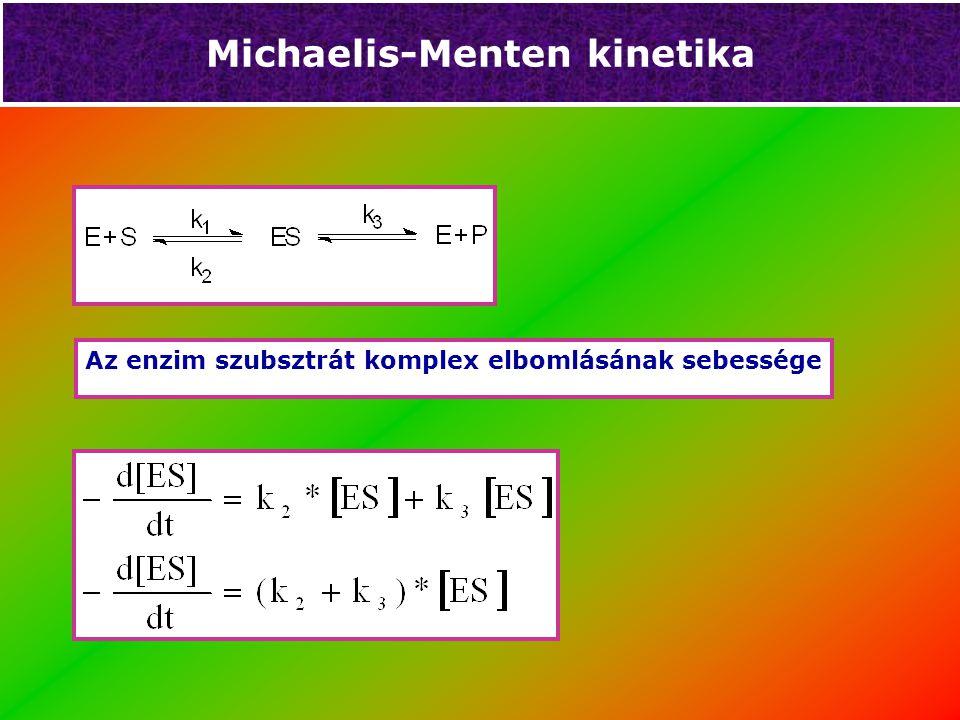 Michaelis Menten kinetika Az enzim szubsztrát komplex képződésének sebessége