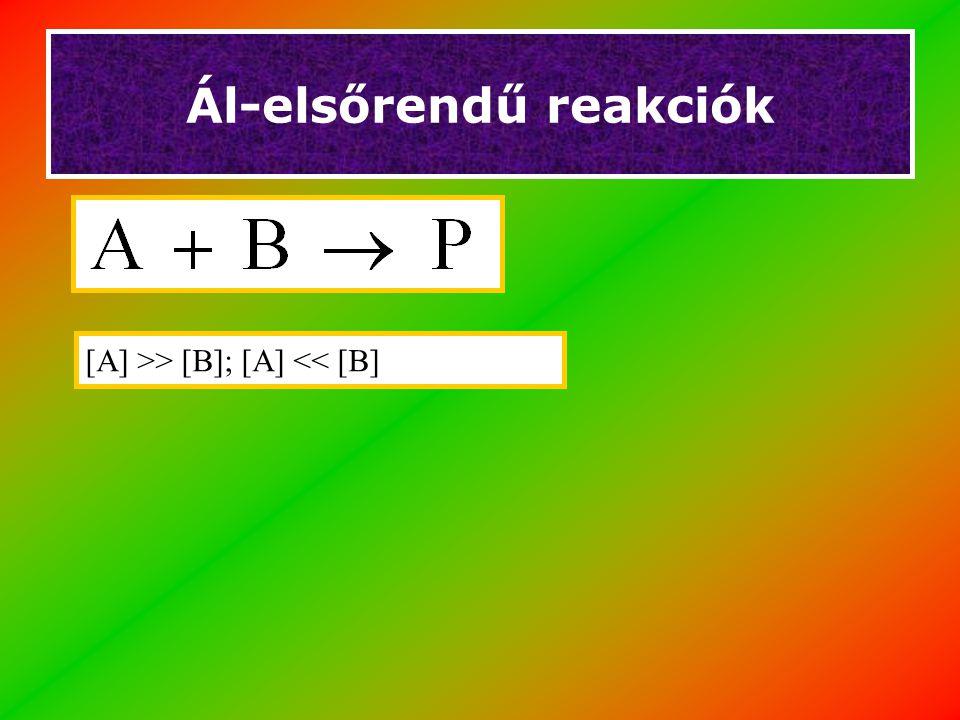 Ál-elsőrendű reakciók [A] >> [B]; [A] << [B]