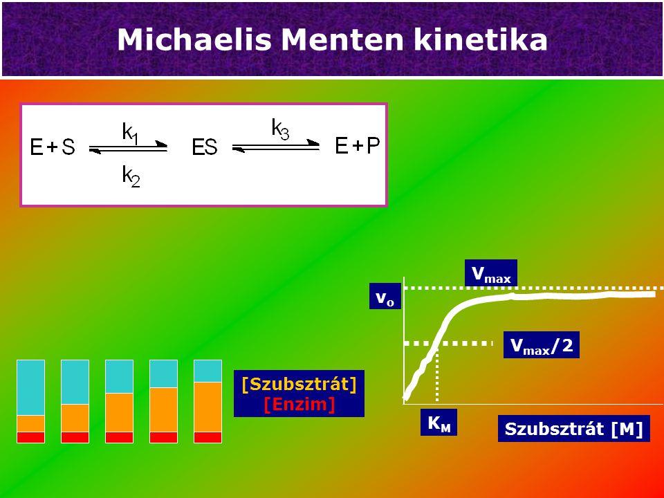 Michaelis Menten kinetika [Szubsztrát] [Enzim] V max Szubsztrát [M] vovo KMKM V max /2