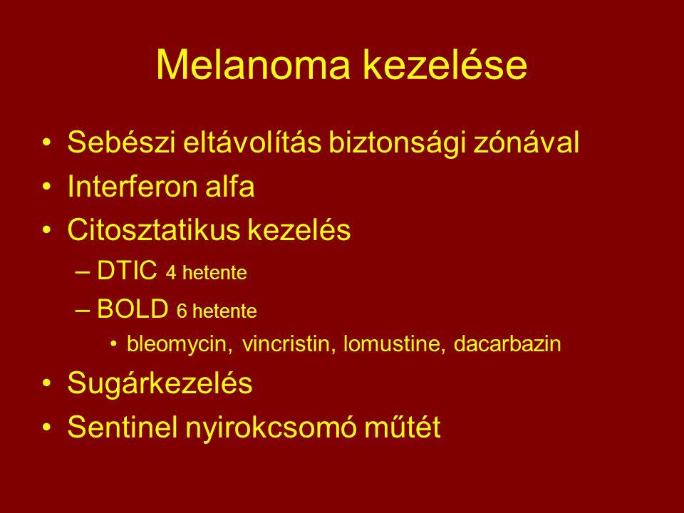 Melanoma kezelése Sebészi eltávolítás biztonsági zónával Interferon alfa Citosztatikus kezelés –DTIC 4 hetente –BOLD 6 hetente bleomycin, vincristin,