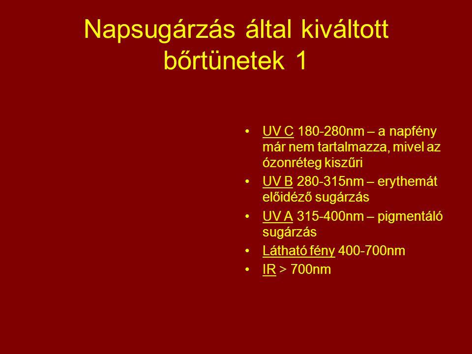 Napsugárzás által kiváltott bőrtünetek 1 UV C 180-280nm – a napfény már nem tartalmazza, mivel az ózonréteg kiszűri UV B 280-315nm – erythemát előidéz