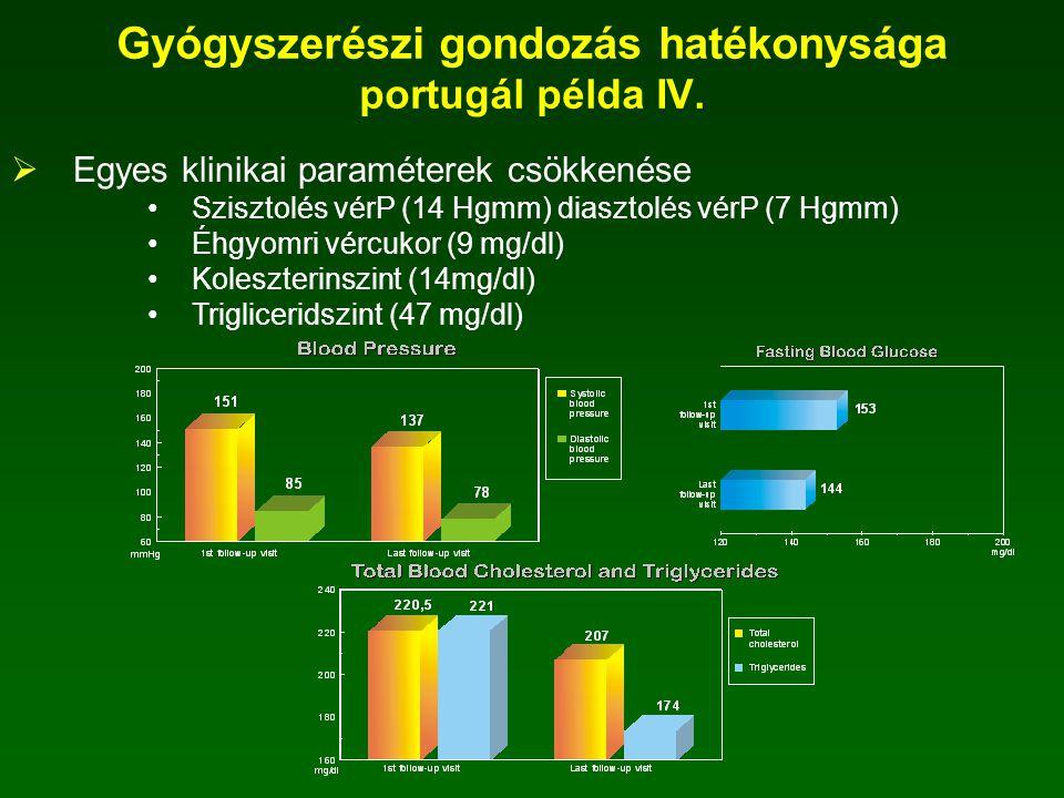  A vizsgálat folyamán elvégzett mérések 9025 mérés - 106 mérés / gyógyszertár - 26 mérés / beteg 9025 mérésből - 3811 vérnyomásmérés - 2280 vércukormérés - 387 koleszterinszint mérés - 141 trigliceridszint mérés - 272 csúcsáramlás mérés Gyógyszerészi gondozás hatékonysága portugál példa III.