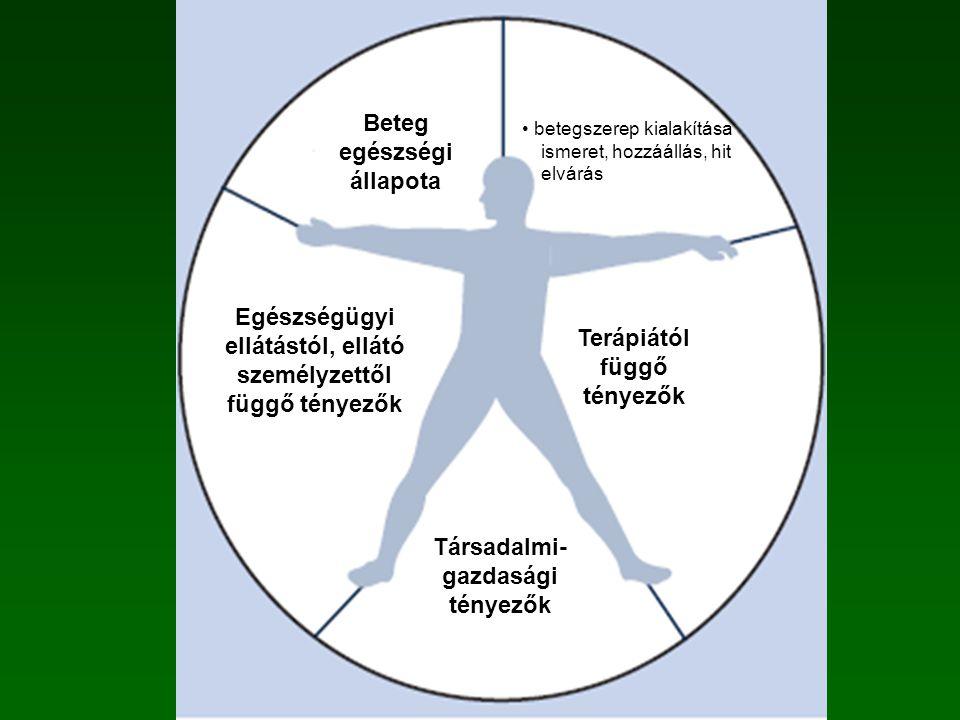 Társadalmi- gazdasági tényezők Terápiától függő tényezők Betegtől függő tényezők Beteg egészségi állapota Egészségügyi ellátástól, ellátó személyzettől függő tényezők