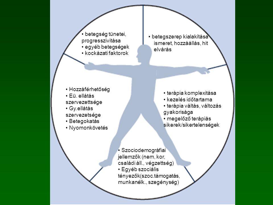 Szociodemográfiai jellemzők (nem, kor, családi áll., végzettség) Egyéb szociális tényezők(szoc.támogatás, munkanélk., szegénység) terápia komplexitása kezelés időtartama terápia váltás, változás gyakorisága megelőző terápiás sikerek/sikertelenségek Hozzáférhetőség Eü.